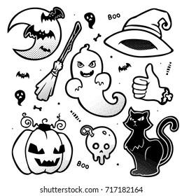 vector halloween cartoon halftone black and white monochrome set