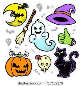 vector halloween cartoon halftone patch set set