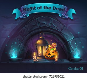 Vector Halloween cartoon illustration Night of the dead. Background image to create original video or web games, graphic design, screen savers.