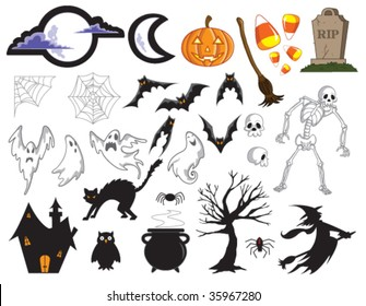 Vector - Halloween collection. All items are easily used individually. Black background behind moons can be easily removed.