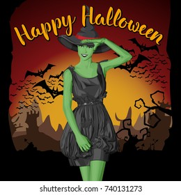 Vector Halloween concept. Green witch woman with hat. With lettering Happy Halloween