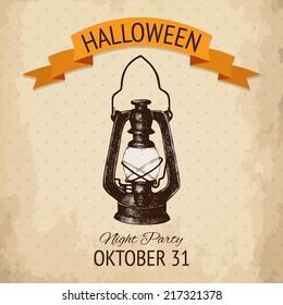 Vector  halloween design with ink hand drawn kerosene lamp illustration. Vintage sketch  for halloween card or invitation design.