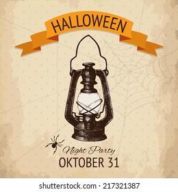 Vector  halloween design with ink hand drawn kerosene lamp and spider illustration. Vintage sketch  for halloween card or invitation design.