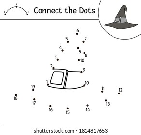 Vector Halloween dot-to-dot and color activity with cute wizard hat. Autumn holiday connect the dots game. Funny coloring page for kids with witch accessory