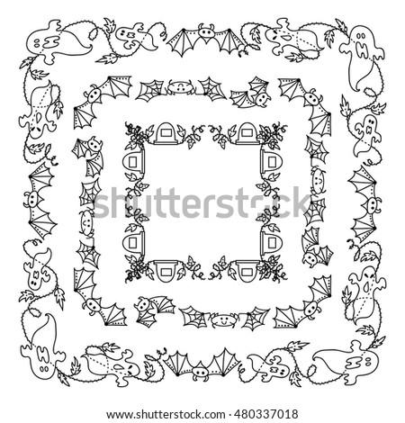 Vector Halloween Elements Design Square Rectangle Stock Vector ...