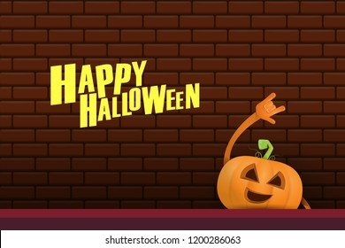 vector halloween funky rock n roll style cartoon carved pumpkin character isolated on brick wall horizontal banner background with space gor text . Happy halloween party concept poster
