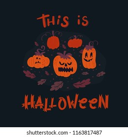 Vector Halloween greeting card, flyer, banner, poster templates. Hand drawn pumpkin with scary faces and lettering. Pumpkin patch. Perfect for party invitation.