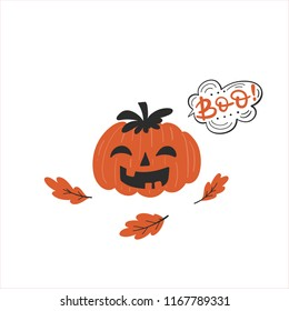 Vector Halloween greeting card, flyer, banner, poster templates. Hand drawn pumpkin, oak leaves and Boo bubble.  Perfect for party invitation.