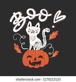 Vector Halloween greeting card, flyer, banner, poster templates. Hand drawn pumpkin, white cat, oak leaves and handwritten lettering - Boo. Perfect for party invitation.