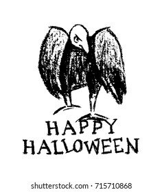 Vector Halloween greeting card. Vector illustration of hand drawn creepy and comic vulture. Charcoal drawing, beautiful Halloween design elements.