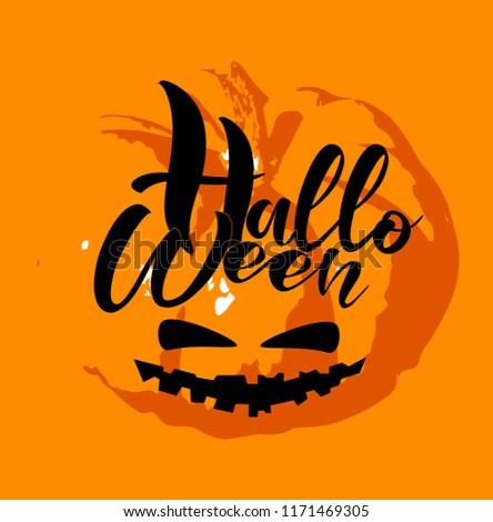 vector halloween hand sketched lettering on stock vector royalty