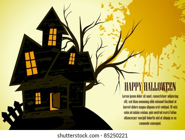 vector halloween haunted house composition