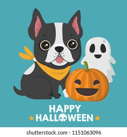 Vector Halloween icon dog French bulldog. In illustration puppy of a bulldog; pumpkin with a funny face; ghost; Text: Happy Halloween.