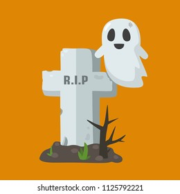 Vector Halloween icon of the grave in the cemetery. Old grave cross and flying ghost. On the tombstone text: R.I.P