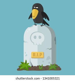 Vector halloween icon stone gravestone. A raven sits on a tombstone and text: RIP. Illustration of the grave monument in flat minimalism style.