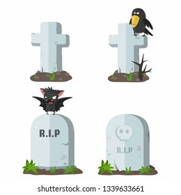 Vector halloween icon stone tombstones. Gravestones in the form of a stone and a cross, a raven and a bat are sitting on tombstones. Illustration of grave monuments in flat minimalism style.