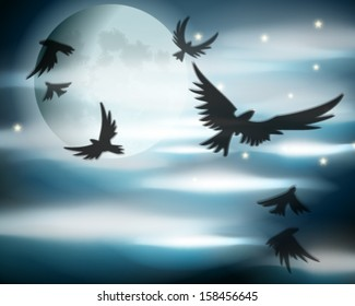 Vector Halloween illustration with dramatic full Moon, clouds, bats and ravens