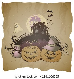 Vector Halloween illustration with grinning Pumpkins, gost and abandoned house on grunge background.