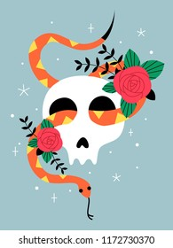 Vector halloween illustration. Hand drawn, doodle, cartoon magician card. Skull, snake and roses.