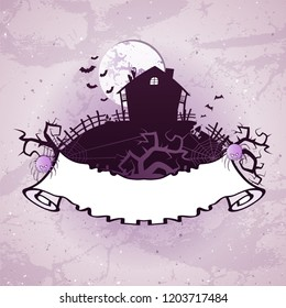 Vector Halloween illustration on grunge background with old torn banner with place for your text. Cartoon style.