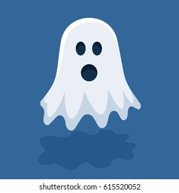Vector halloween illustration of white flying ghost with eyes, mouth on dark blue gradient background