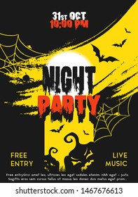 Vector Halloween party design poster with evil pumpkins, bats and spider