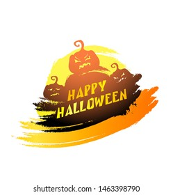 Vector Halloween party illustration with evil pumpkins