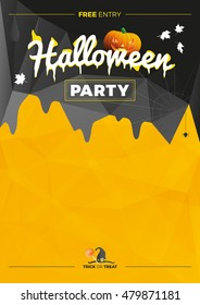 Vector Halloween Party illustration. Modern poster with pumpkin on black, yellow background.