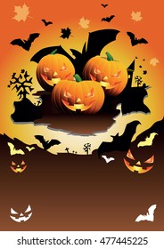 Vector Halloween Party illustration with pumpkin and bats on orange background.