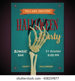 Vector Halloween party poster with dead man's zombie skeleton arm on invitation to party.