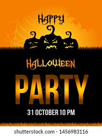 Vector Halloween party poster with evil pumpkins