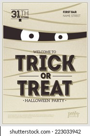 Vector Halloween Party Poster. Mummy