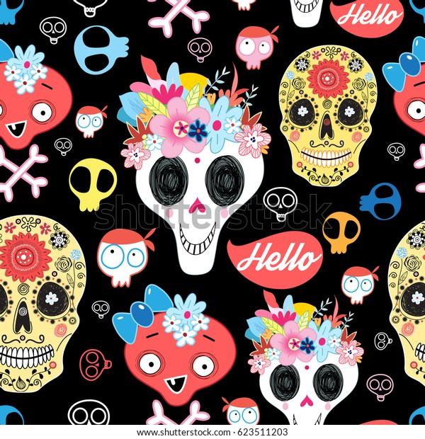 Vector Halloween pattern with decorative skulls on a dark background