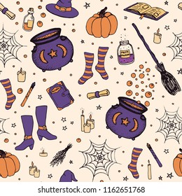 Vector Halloween pattern with hand drawn pumpkin, cauldron, spider web, potions, magic books, witch's broom, hat, socks and boots in sketchy style on beige background. Holiday decoration.