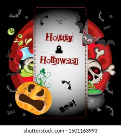 Vector Halloween poster mockup. It includes an inscription on stitched parchment and characters and holiday items.