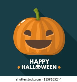 Vector Halloween pumpkin icon with a smiling face. Illustration of a pumpkin in a flat style. Text: Happy Halloween!