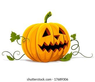 vector halloween pumpkin vegetable fruit isolated on white background