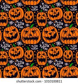 vector halloween pumpkins trick or treat seamless pattern backgr