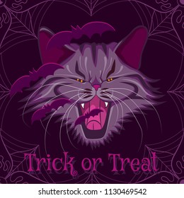 Vector halloween purple illustration of a vampire cat with bats with text trick or treat.