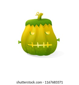Vector halloween scary Frankenstein pumpkin isolated on white background. With candle light inside