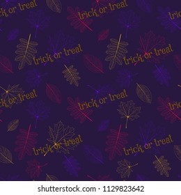 Vector halloween seamless pattern with multicolor leaves of different trees with text trick or treat on the violet background.
