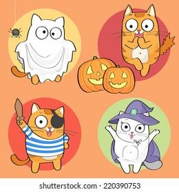 Vector Halloween Set of cute cartoon cat characters.