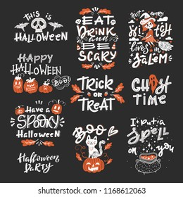 Vector Halloween set with handwritten lettering and traditional symbols. Collection with pumpkins, ghost, cat, skulls, bats, broom, cauldron, leaves, candys. Perfect for party invitation.
