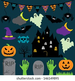 Vector Halloween Set with Scary and Cute Elements