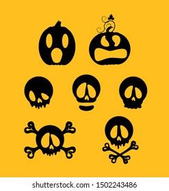 Vector Halloween silhouette set Pumpkin Jacks and  skulls