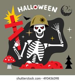 Vector Halloween Skeleton Cartoon Illustration.