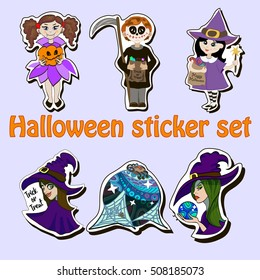 vector halloween sticker set of different characters in costumes. witch, vampire, skleleton, death, magic ball, pumpkin.
