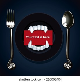 Vector of Halloween Vampire Teeth on black plate with spoon and fork.