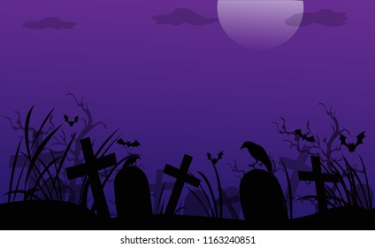 Vector Halloween wallpaper or posters. The atmosphere is dark and quiet in the cemetery feel creepy and frightening.