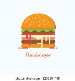 Vector hamburger junk food